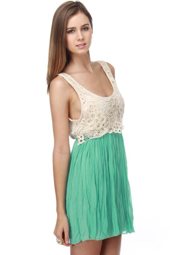 Forgotten Woods Lace Mint Green Dress