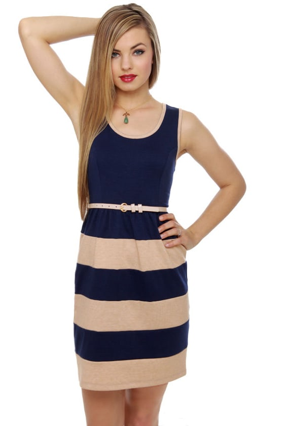 All-Starboard Navy Blue Striped Dress