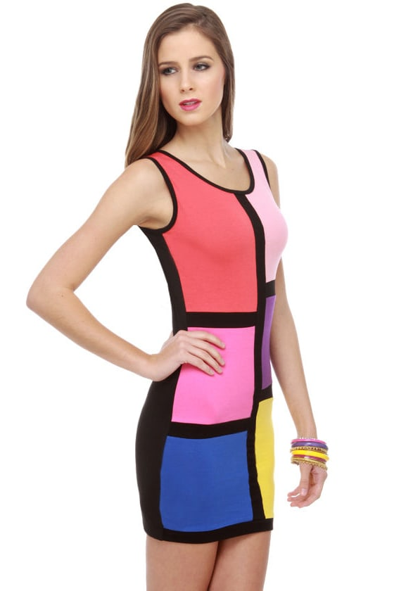 Bid You Good-Bright Color Block Dress