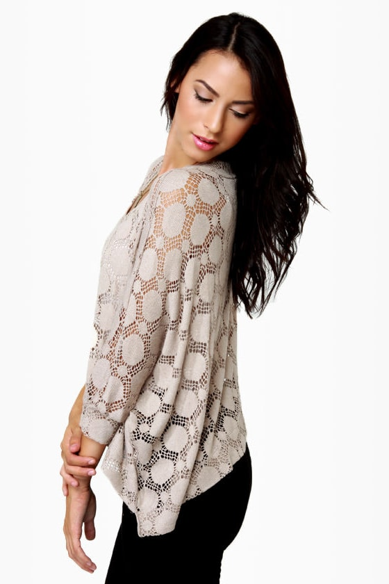 O'Doily Rules! Taupe Sweater Top at Lulus.com!