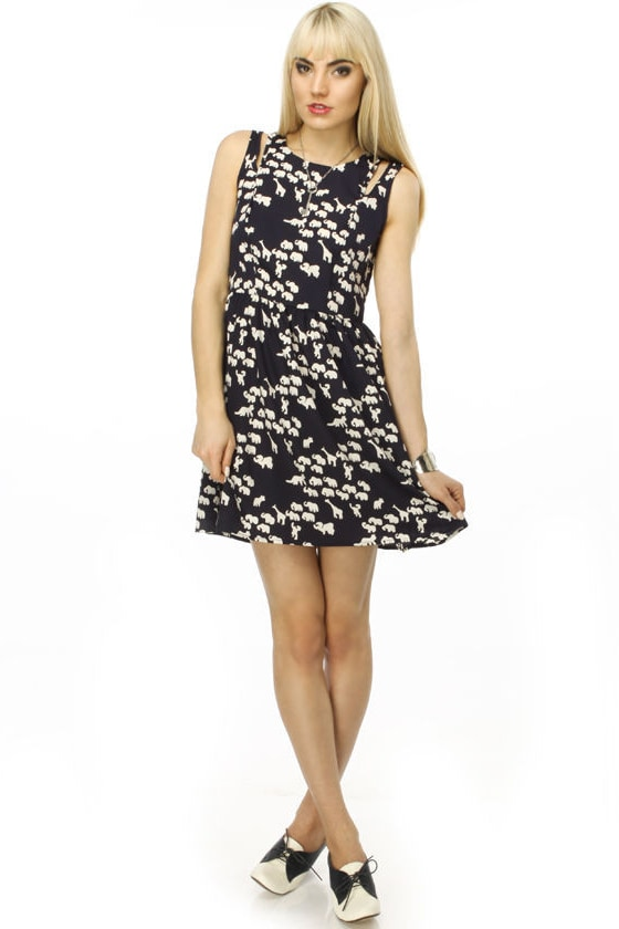 Escape from the Zoo Navy Blue Dress