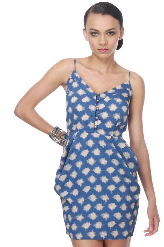 Starry Glow Print Blue Dress