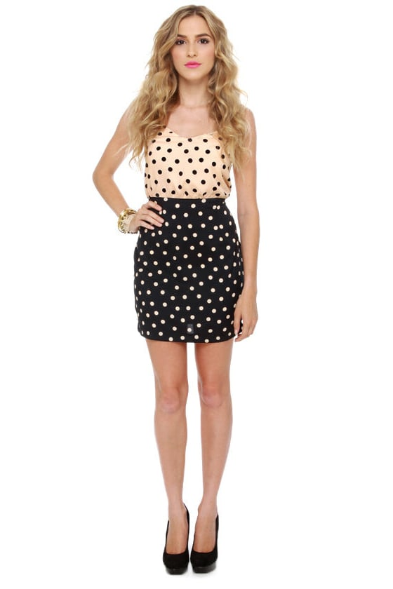 Bubbly Personality Navy Blue and Peach Polka Dot Dress