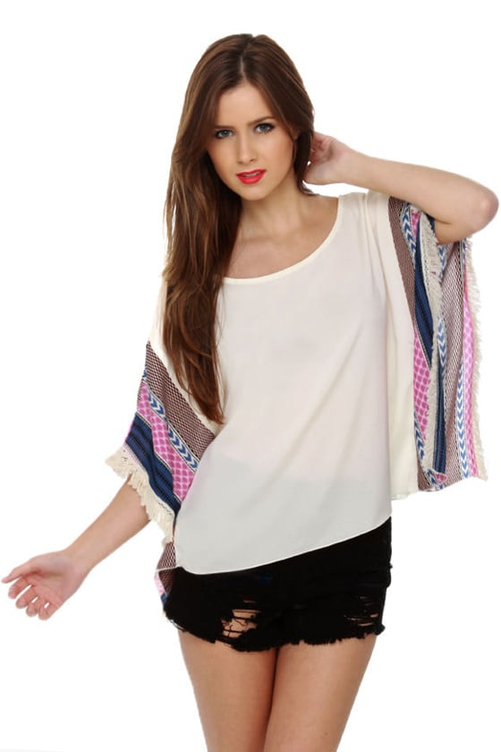 Main Stage Print Poncho Top