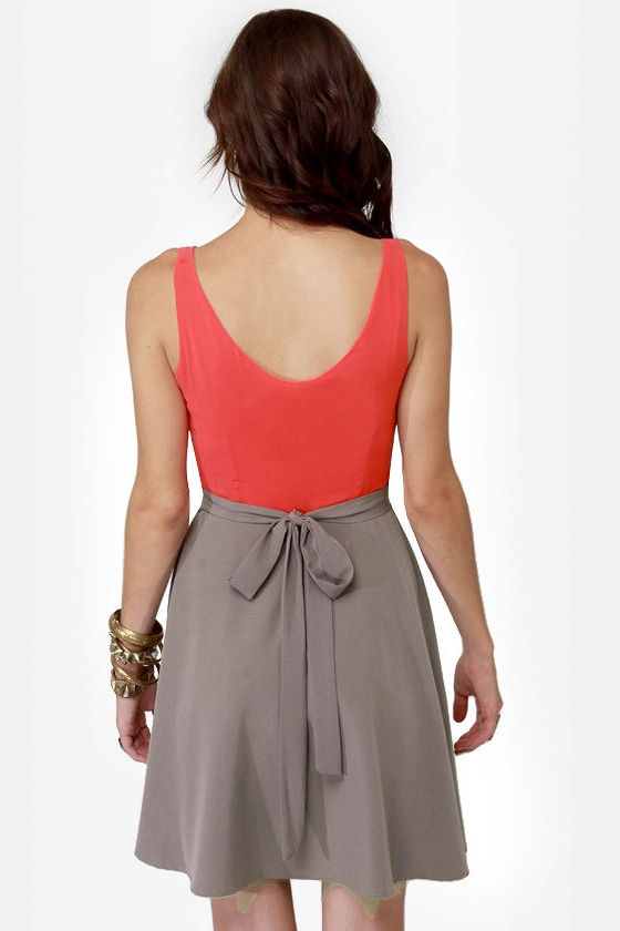 Flare-way to Heaven Taupe and Coral Dress