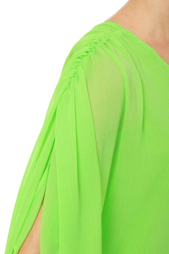 Asymmetry Hugger Neon Green Dress