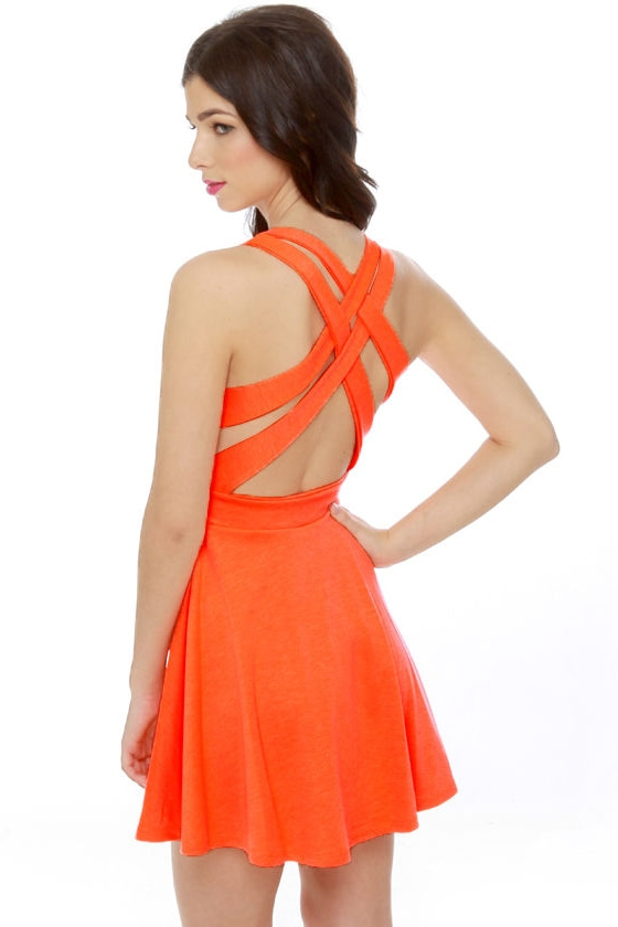 Call Me Baby Neon Orange Dress at Lulus.com!