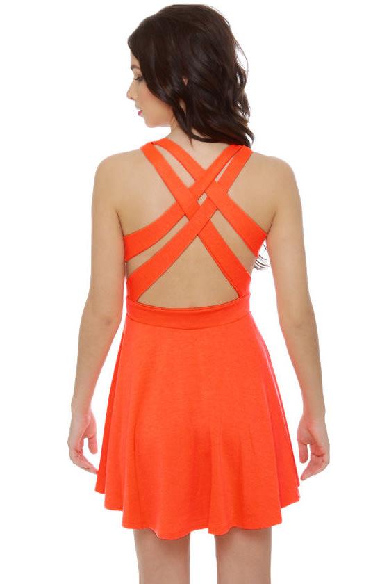 Call Me Baby Neon Orange Dress