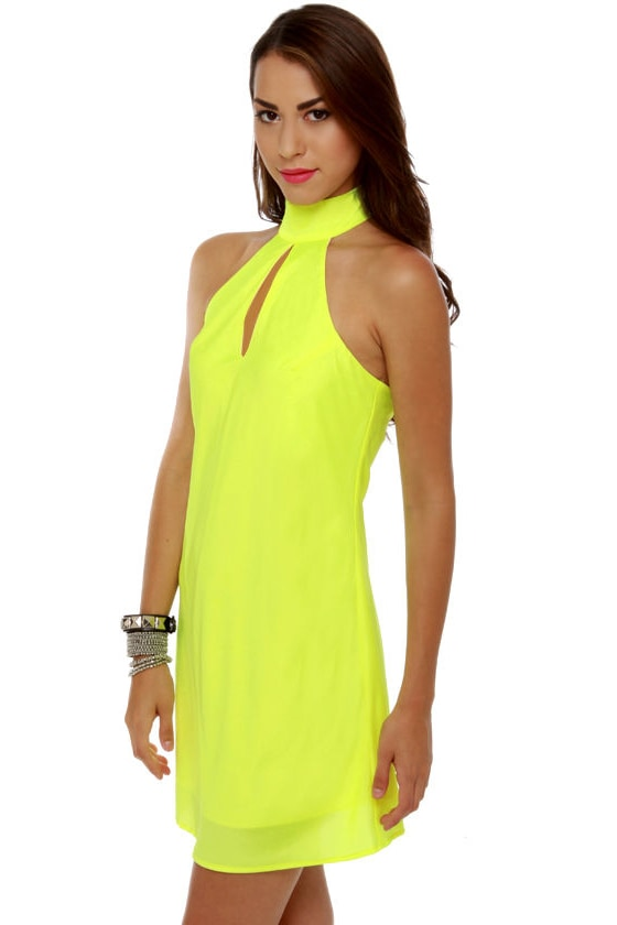Highlight the Way Neon Yellow Halter Dress