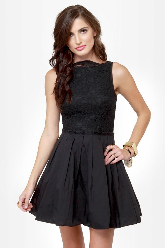 Party Etiquette Black Lace Dress at Lulus.com!
