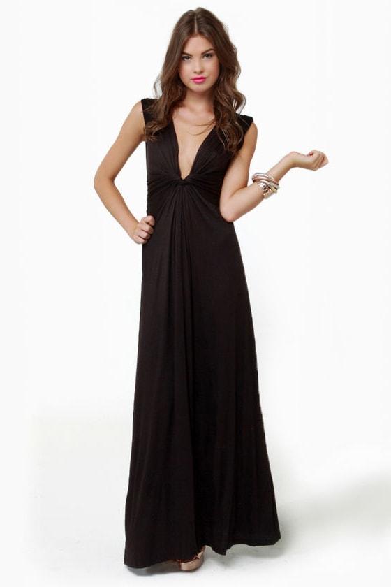 8720d1655b4 Sexy Black Dress - Maxi Dress - V-Neck Dress -  37.00