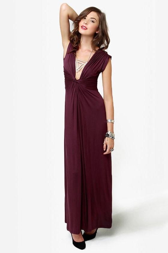 Grand Central Sensation Burgundy Maxi Dress