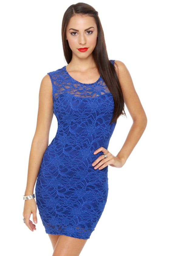 47baae10229 Sexy Blue Dress - Royal Blue Dress - Lace Dress -  40.00