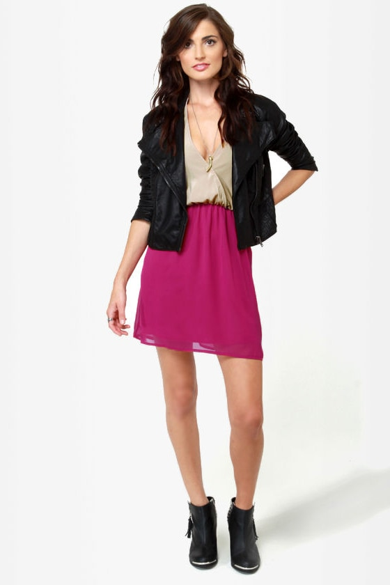 Back Beauty Taupe and Magenta Dress