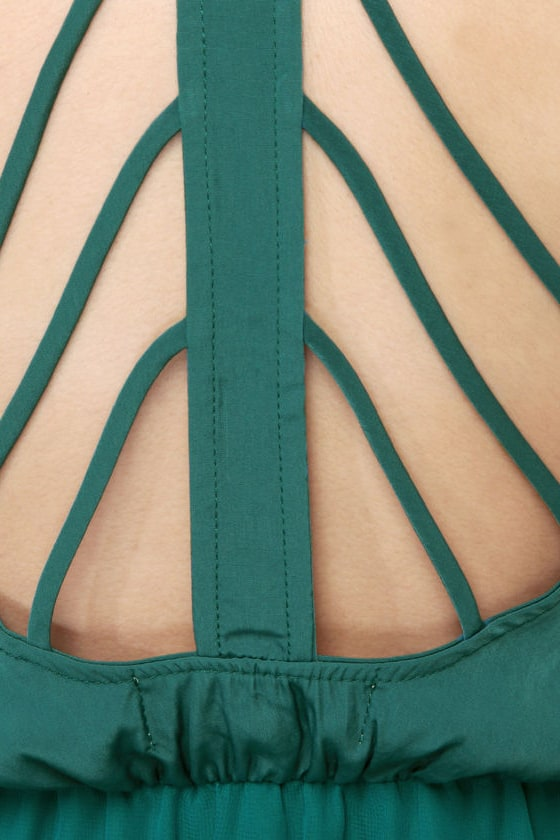 Back Beauty Teal Green Dress