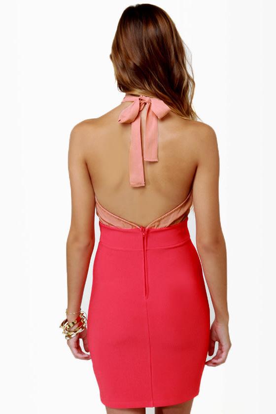 A-List Twist Coral Red Dress
