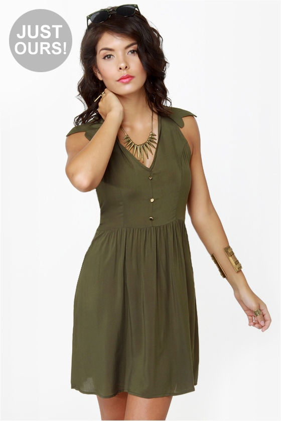 718b460a7c4 Cute Olive Green Dress - Cutout Dress - Sleeveless Dress -  40.00