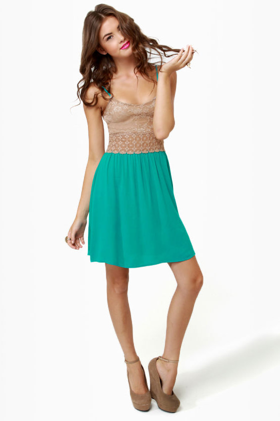 Picture Perfect Taupe and Teal Dress