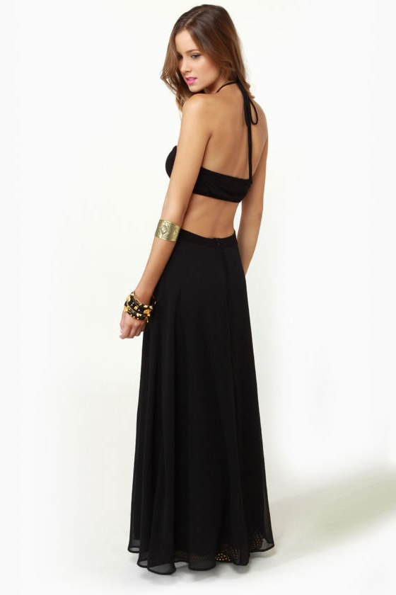 LULUS Exclusive Long Division Black Maxi Dress at Lulus.com!