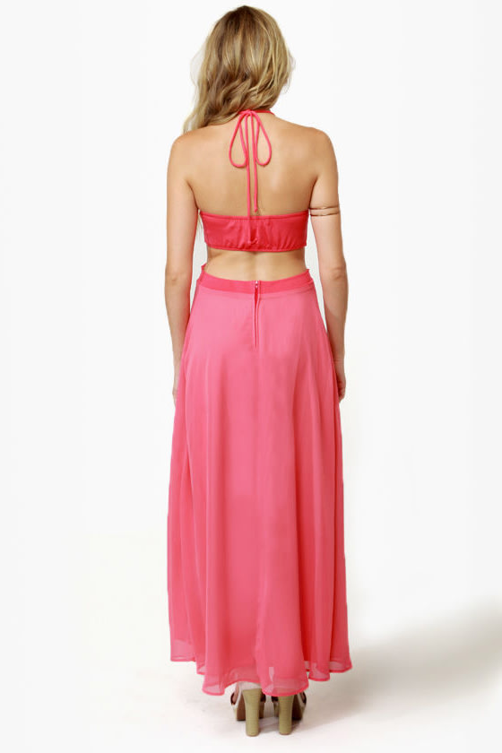 Long Division Coral Pink Maxi Dress
