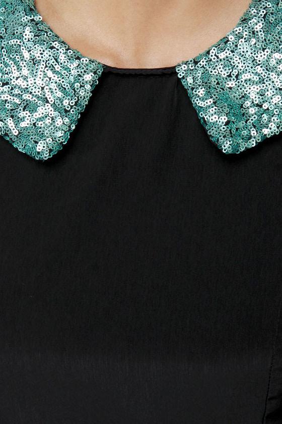On Cloud Shine Black Sequin Dress