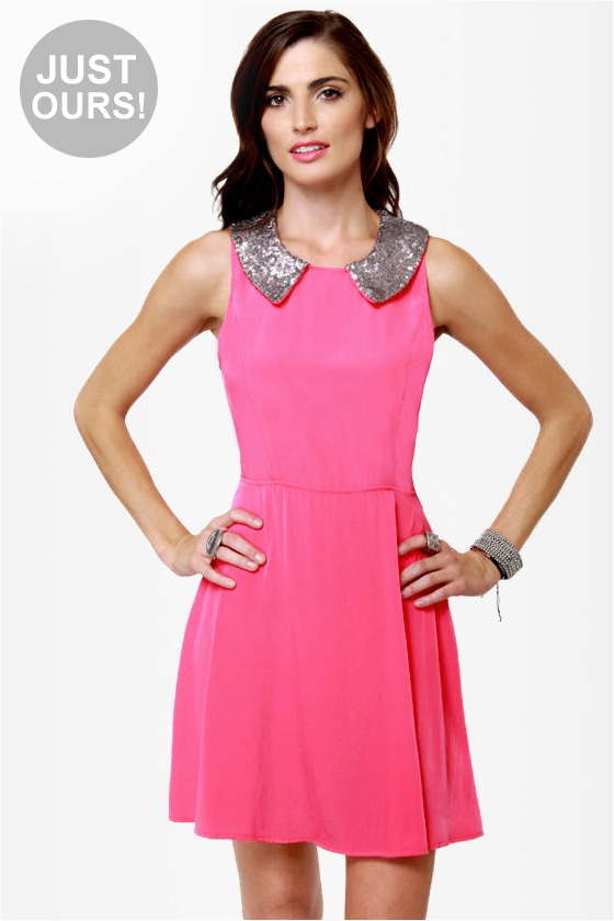 Cute Hot Pink Dress - Sequin Dress - Strapless Dress - $44.50