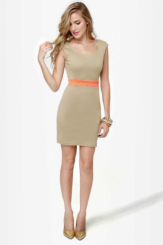 Rock Studdy Neon Orange and Beige Dress