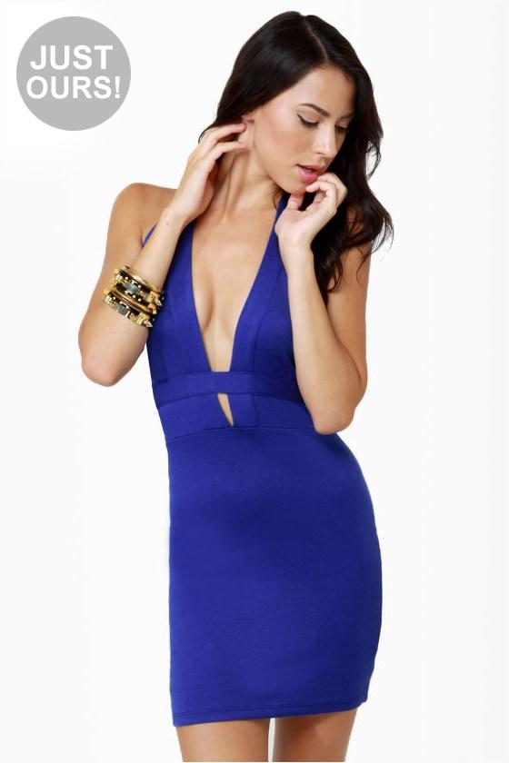 Breakbeats Blue Halter Dress