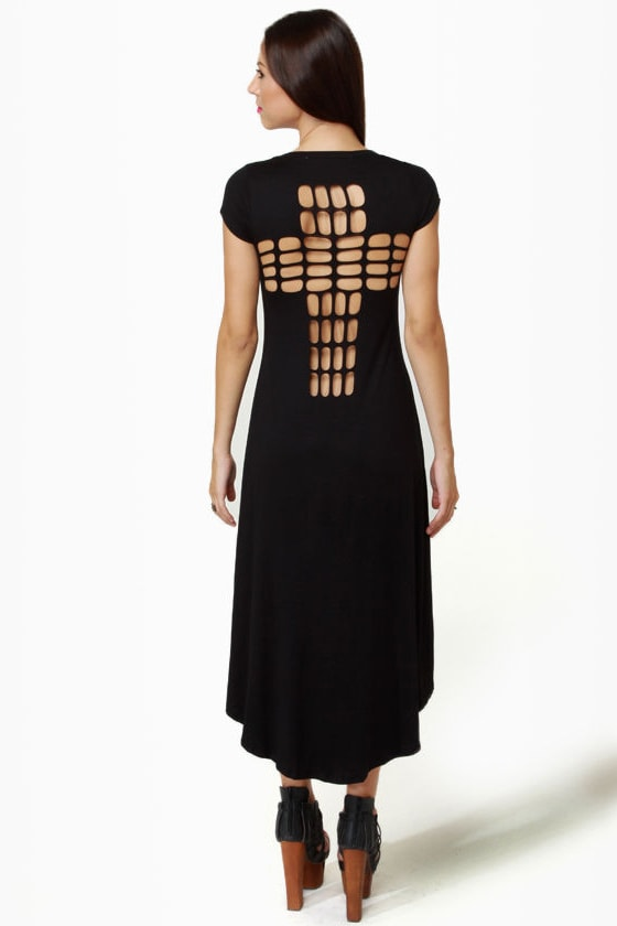 LULUS Exclusive Cross to Bare Black Midi Dress