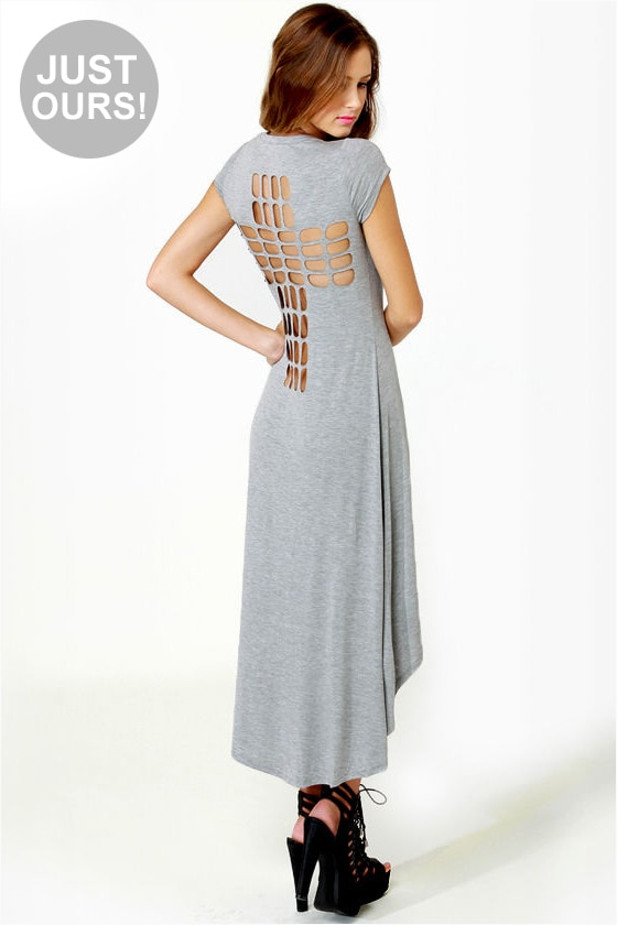 LULUS Exclusive Cross to Bare Grey Midi Dress