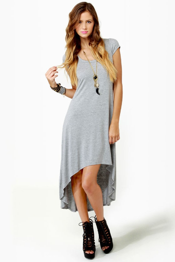 LULUS Exclusive Cross to Bare Grey Midi Dress at Lulus.com!