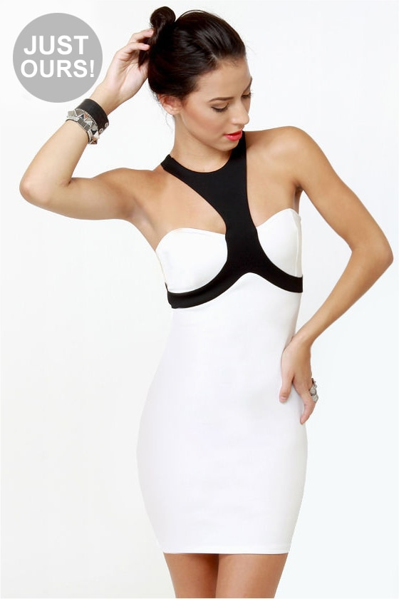 Halterations Black and White Dress