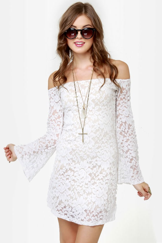 Ring My Bell Off-the-Shoulder Ivory Lace Dress at Lulus.com!
