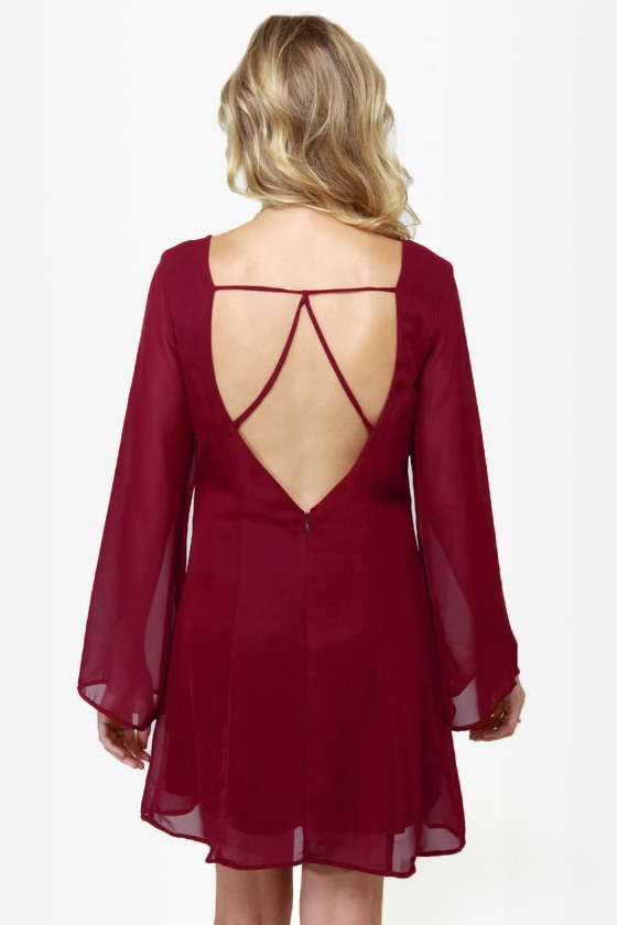 Back in a Flash Burgundy Dress