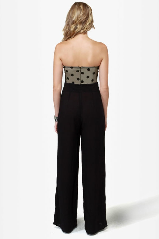 LULUS Exclusive Collect Your Dots Strapless Black Jumpsuit at Lulus.com!