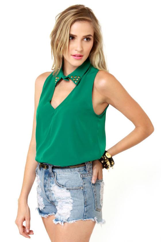 LULUS Exclusive Collared Queens Sleeveless Green Top