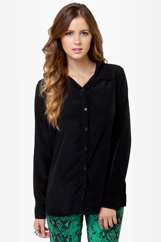 Listen to Your Heart Black Button-Up Top