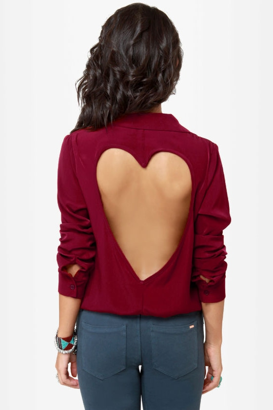 LULUS Exclusive Listen to Your Heart Burgundy Button-Up Top at Lulus.com!