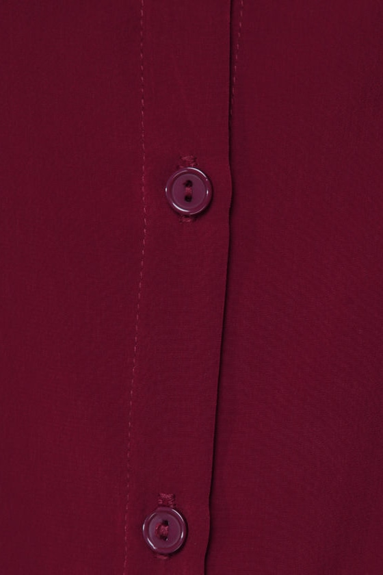 Listen to Your Heart Burgundy Button-Up Top
