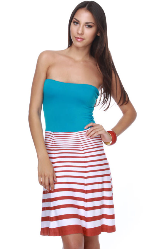 Day Spa Turquoise Striped Dress