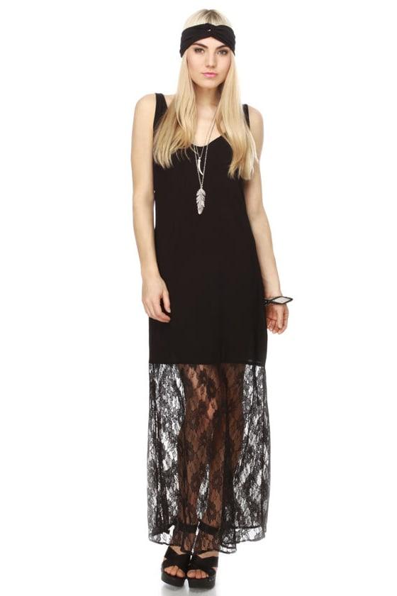 Hush of Waves Black Maxi Dress