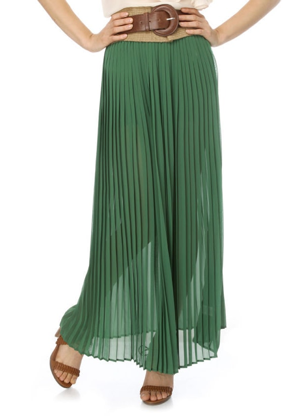 Irish Moorlands Pleated Green Maxi Skirt