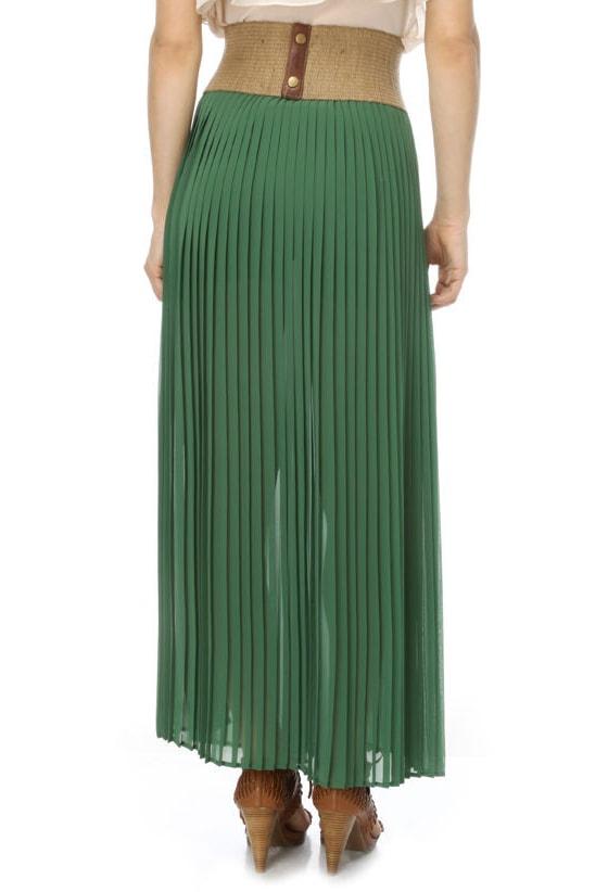 graceful green skirt maxi skirt pleated skirt 41 00