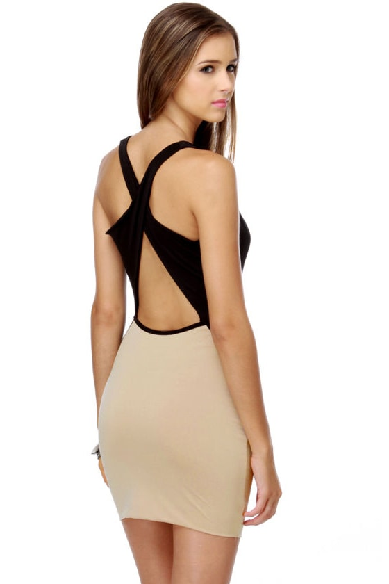 Guilty As Charged Black and Beige Dress
