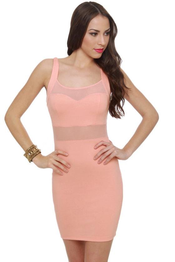 Whiplash Cutout Peach Dress