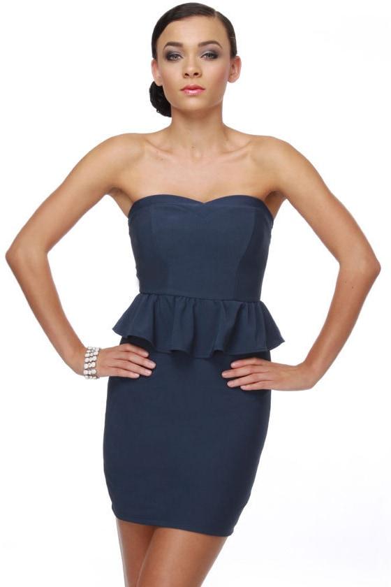 Sweetheart Strapless Navy Blue Dress