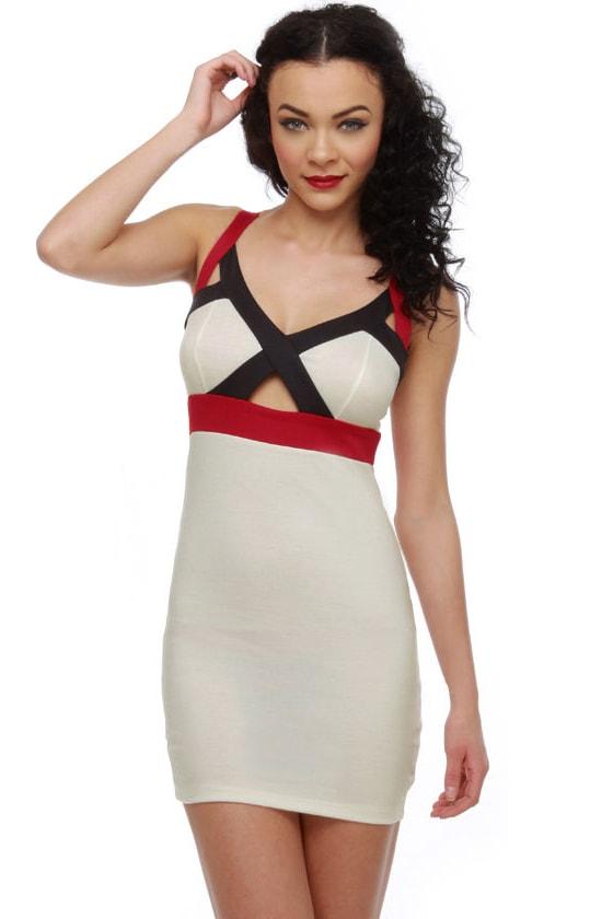Cute White Dress - Color Block Dress - Body Con Dress