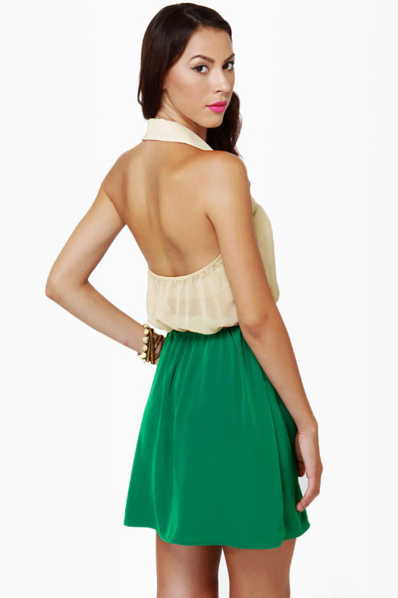 Game of Croquet Beige and Sea Green Halter Dress at Lulus.com!