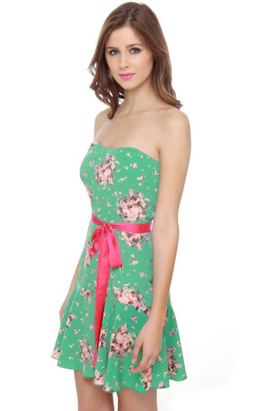 Impending Bloom Green Floral Print Dress