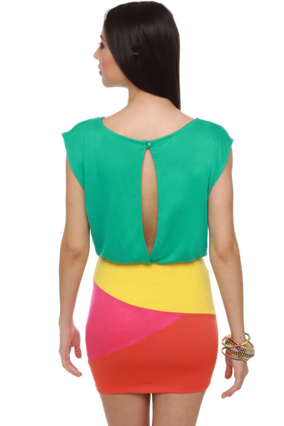 Girl from Ipanema Teal Color Block Dress